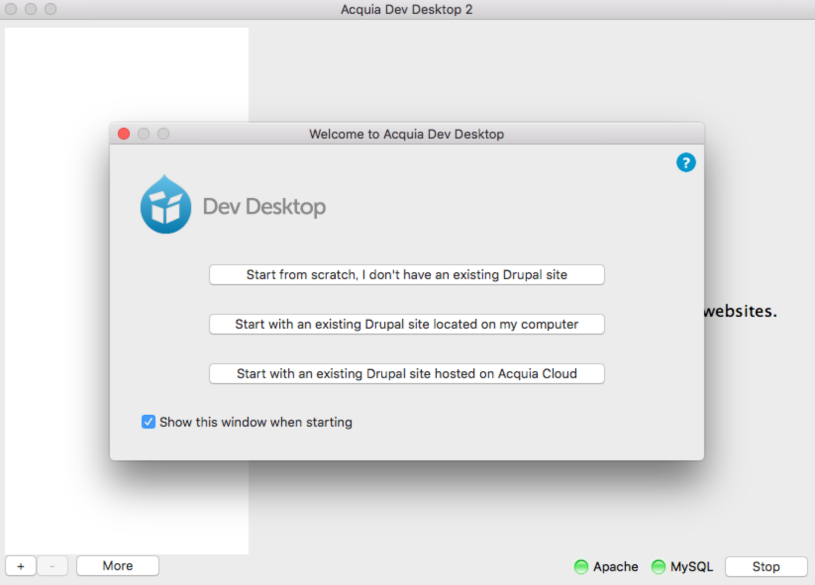 Acquia Dev Desktop サイト追加